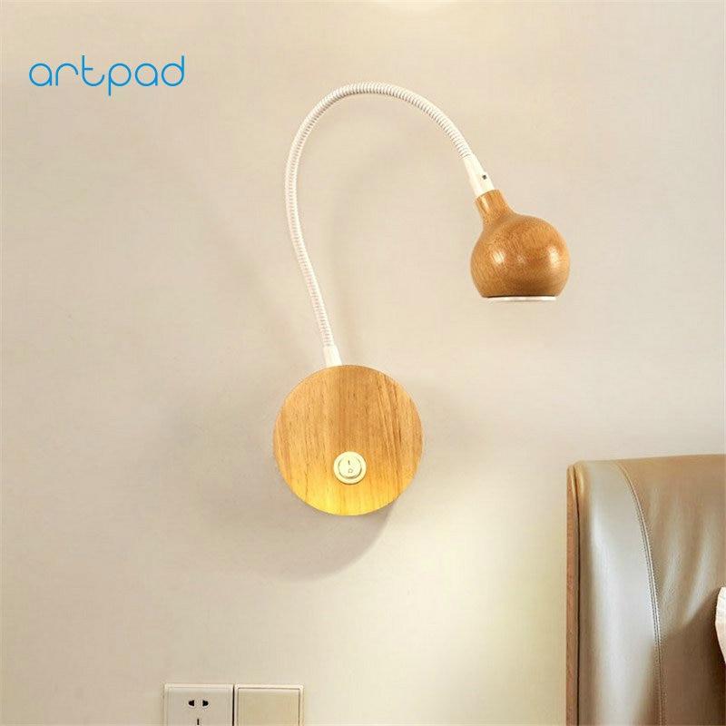 Artpad Nordic Wood Wall Lamp White/Black Flexible 360 Degree LED Wall Spot Lights For Bedroom Bathroom Hallway Indoor Lighting levett caesar prostate massager for 360 degree rotation g spot