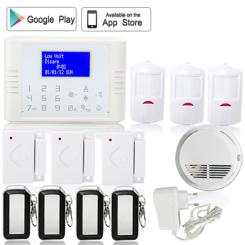 English/French/Spanish IOS Android APP Touch screen Wireless GSM PSTN SMS Home Security Burglar House Alarm smoke detector kerui wireless wired gsm voice burglar home house security alarm app control tft touch panel wireless smoke detector pir sensor