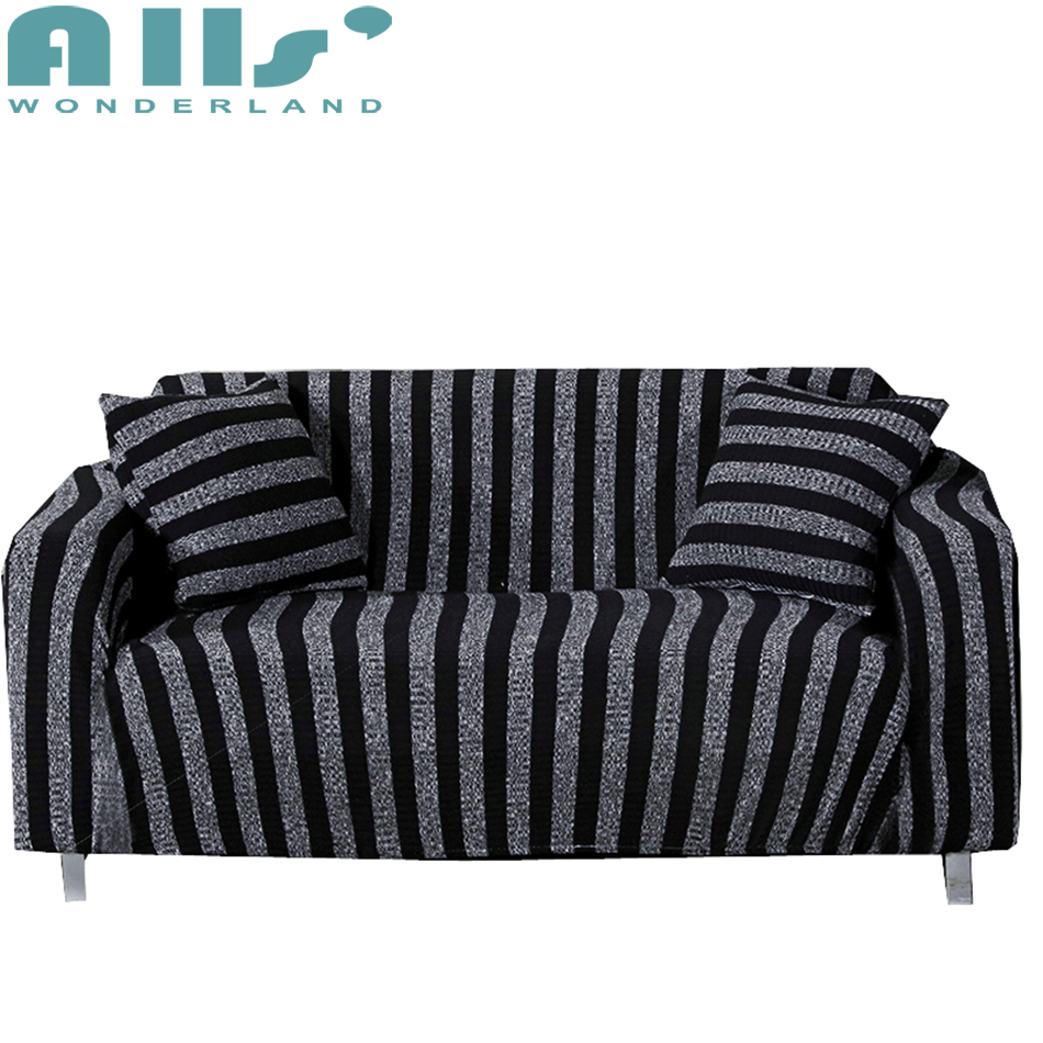 Buy black stripes knitted sofa covers for - What size couch for my living room ...