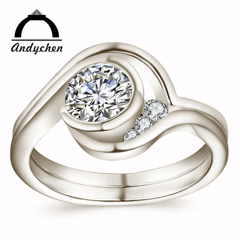 AndyChen White Gold Color Wedding Classic engagement Rings for Women AAA Zircon Jewelry accessories Bague Bijoux Size 6-10 R1035