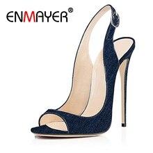 купить ENMAYER Sexy Woman shoes High Heels Sandals Summer New Peep Toe Thin heels Denim Buckle strap Thin heels Lady shoes Causal CR5 дешево