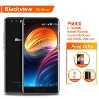 Blackview Original P6000 5.5 Smartphone 6GB+64GB Helio P25 Face ID 21.0MP Camera 6180mAh Battery 4G Dual SIM Slim Mobile Phone