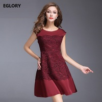 Red Women Fashion Party Supplies Dress 2017 Autumn Ladies Applique Embroidery Long Sleeve Cotton Dress Vestido