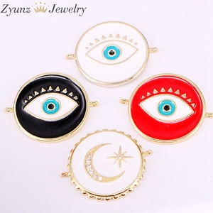 Image 2 - 30PCS, Mix Random, Enamel Connector Beads, Round/ Star/Lip/Hand/Eye shape, Enamel Eye Beads, Beads for Connectors, Diy Supplies