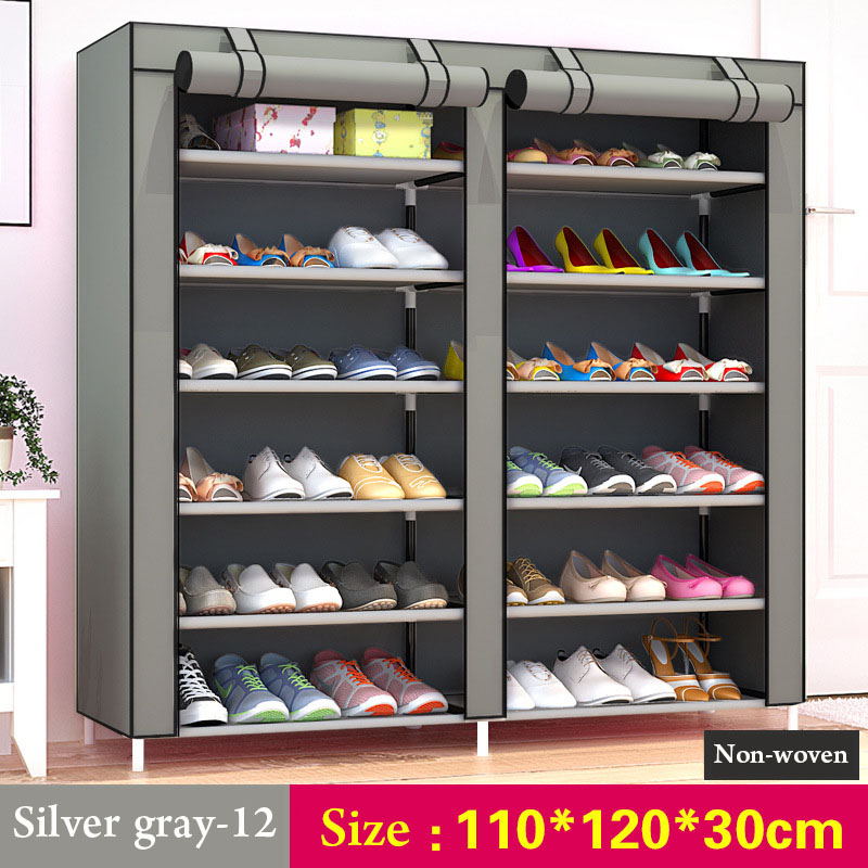 Image 5 - 43.3 inch 7 layer 9 grid Non woven fabrics large shoe rack organizer removable shoe storage for home furniture shoe cabinet-in Shoe Cabinets from Furniture