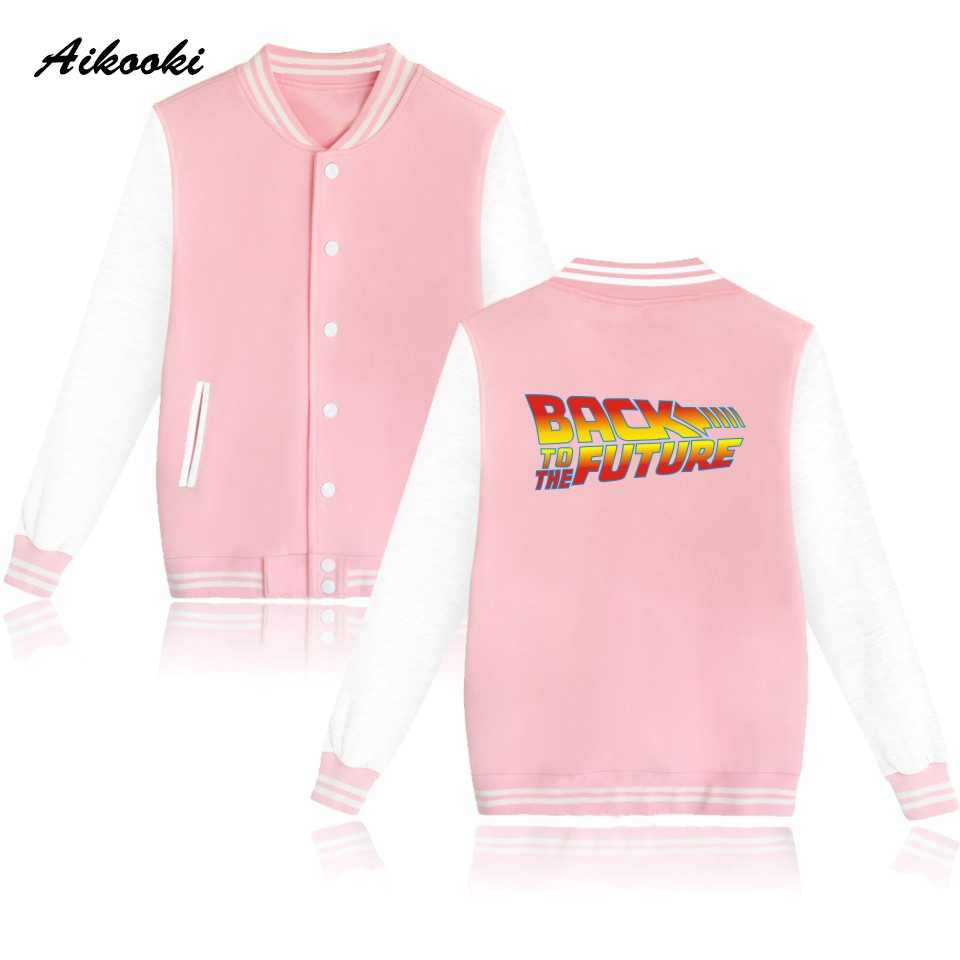 2018 Back To The Future Baseball Jacket Womens Hoodies Pullover Pink Jacket Coat Hoodies Women Winter Fashion Jacket Clothes