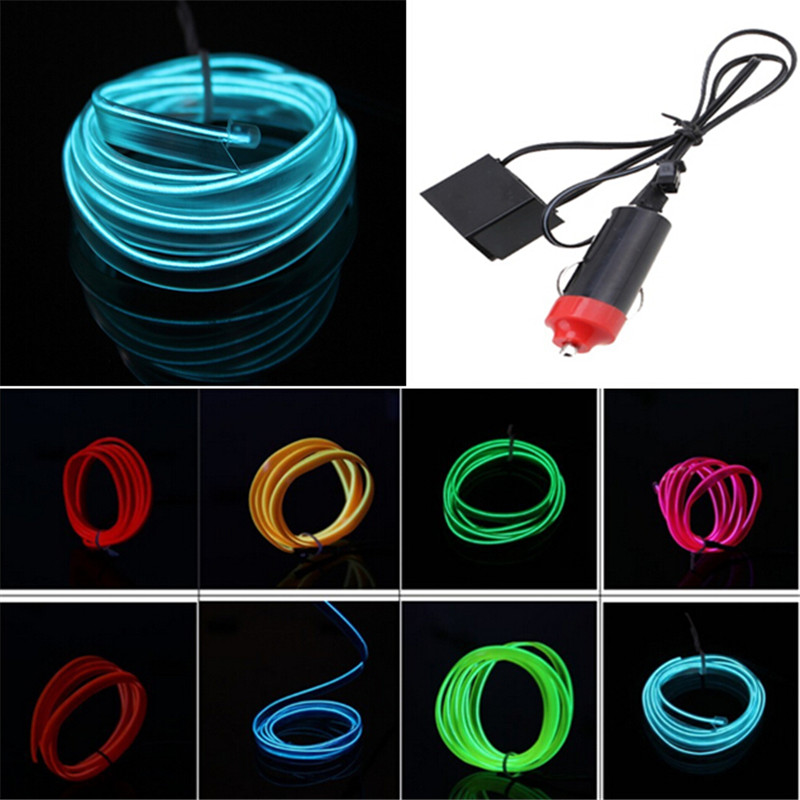 possbay 5m flexible el wire neon glow light strip with 12v inverter car  birthday party decoration