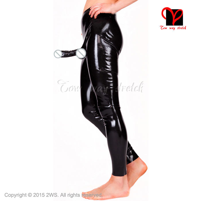 Latex black Sexy enorme Leggings anatomisch cock bal Lange Rubber broek Latex Broek Condoom Penis Schede XXXL plus size KZ 018