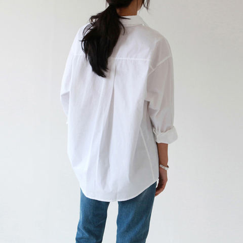 BGTEEVER Plus Size OL Style One Pocket Single Breasted Women White Shirts Turn-down Collar Autumn Blouses Casual Female Tops Islamabad