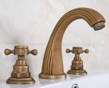 Bathroom Faucet 3 Hole Double Handle Antique Brass Basin Sink Mixer Tap Widespread zan068