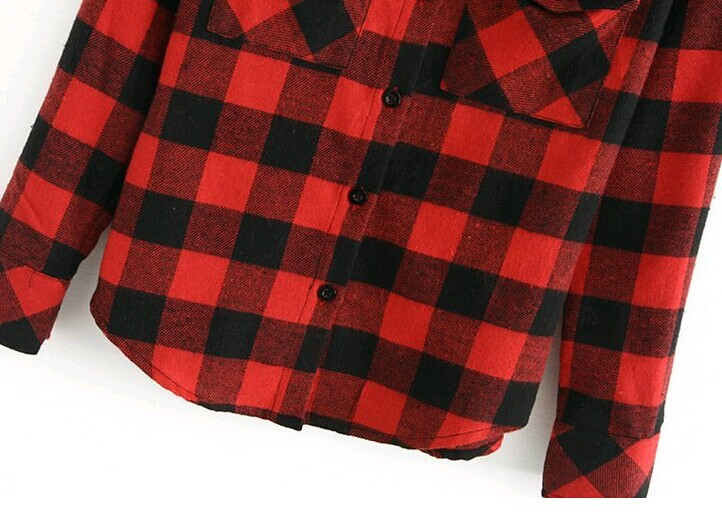 Black and red plaid shirt women Womens red plaid shirts blouses