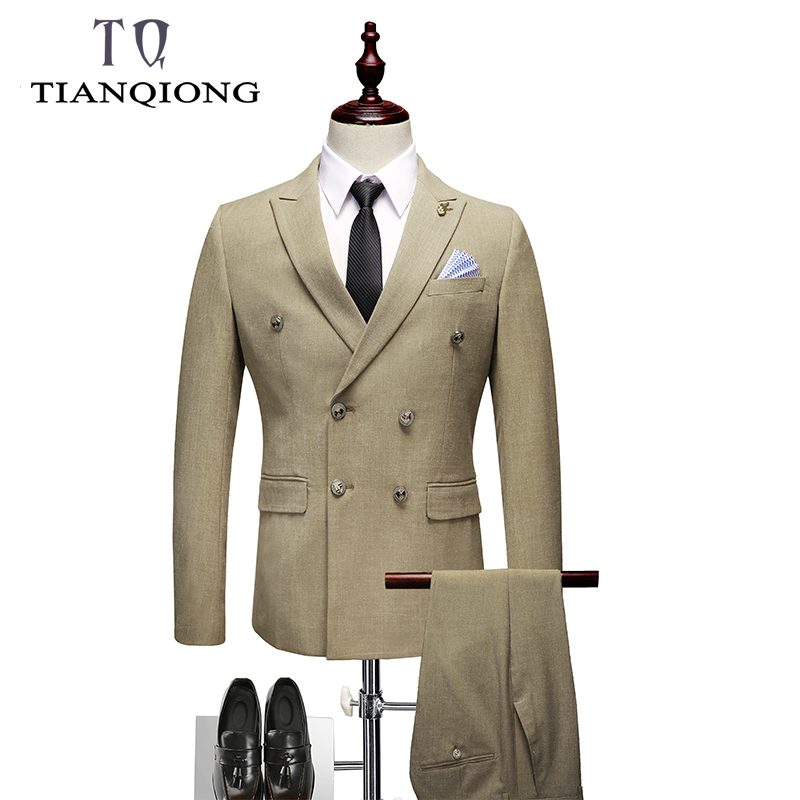 New Double Breasted Suit Men 2019 Slim Fit Suits For Men Suits With Pants Waistcoat Men's Business Wedding Groom Suits 3 Piece