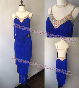 Image 3 - Latin Dance Dresses Women High Quality Customized Rumba Samba Dancing Skirt Lady Blue Tassel Latin Competition Dance Dress