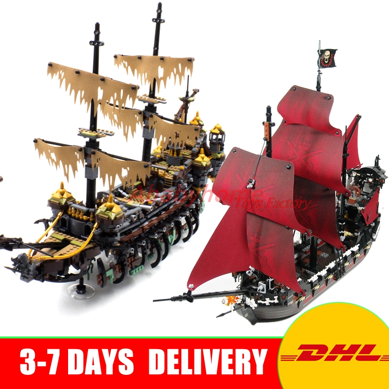 DHL Copy 71042 LEPIN 16042 2344PCS Pirate of The CaribbeanThe Slient Mary Set+16009 Queen Anne's Reveage Ship Building Blocks lepin 16042 2344pcs pirate of the caribbean ship slient mary children educational building blocks bricks compatible 71042 toys