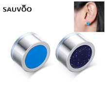SAUVOO Fashion Round Stainless Steel Magnetic Stud Earrings For Men Women Black Color Double Side Earrings Women Jewelry Gifts(China)