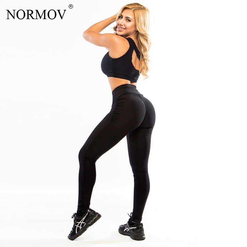 NORMOV женские Леггинсы пуш-ап эластичный спортивный бинт из полиэфирного волокна Леггинсы большого размера черные облегающие Джеггинсы Леггинсы с высокой талией брюки женские