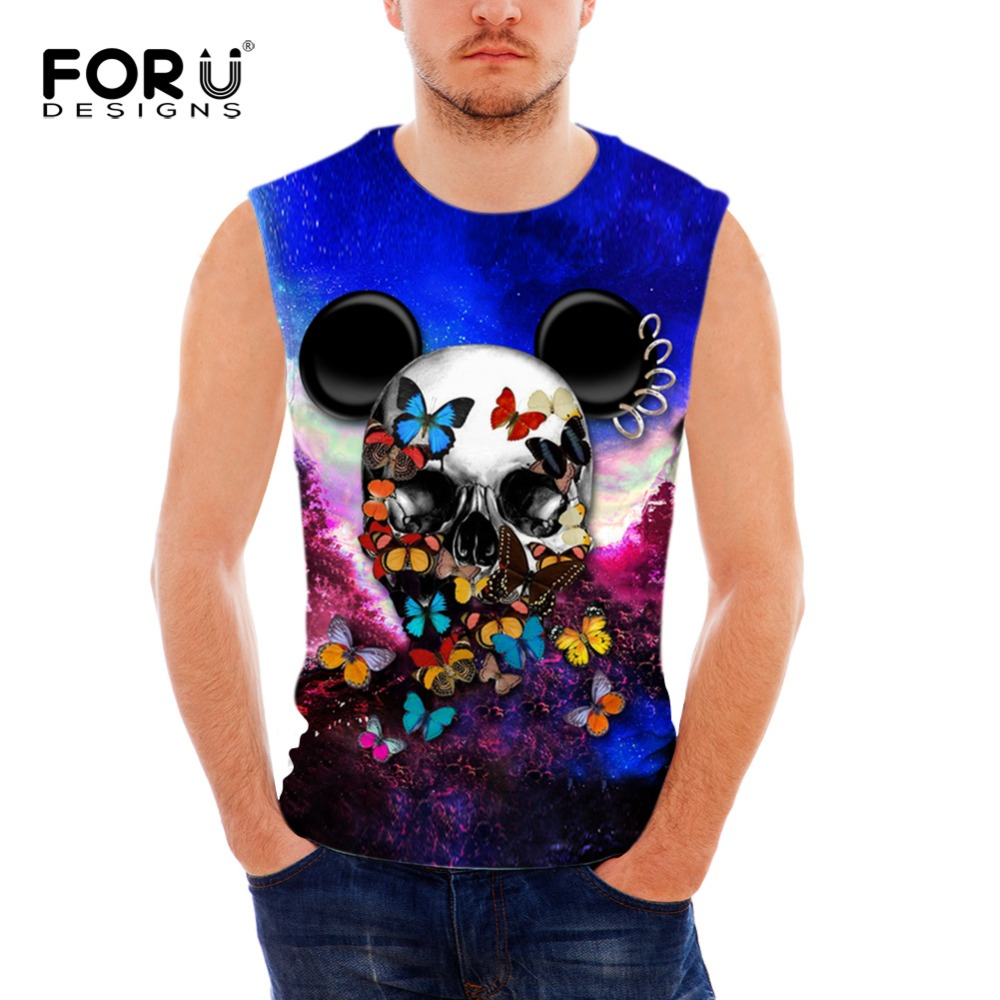 dd6a27ace3d FORUDESIGNS Hot sale summer men s Tank Tops spandex surface Quick drying  vest men s 3d anime skulls printed vest for teen boys-in Tank Tops from  Men s ...