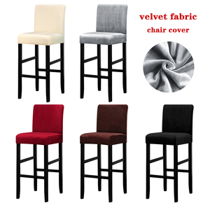 Stretch Velvet Fabric Bar Chair Cover High Stool Chair Protector Seat Covers Slipcover for Banquet Wedding Party Dining Room(China)