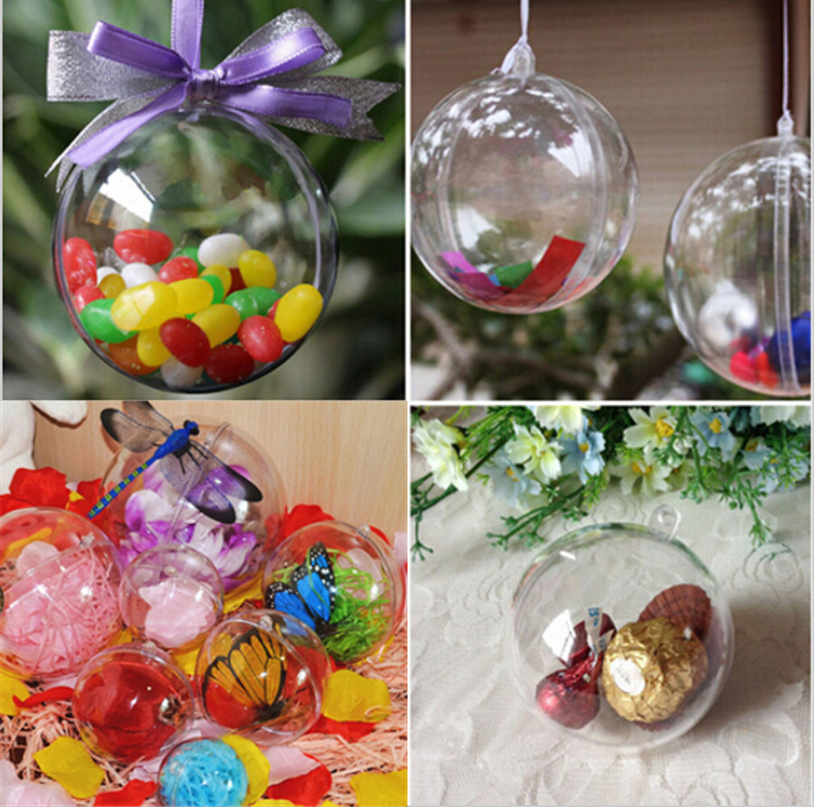10pcs christmas decorations gift craft transparent hanging for New xmas decorations