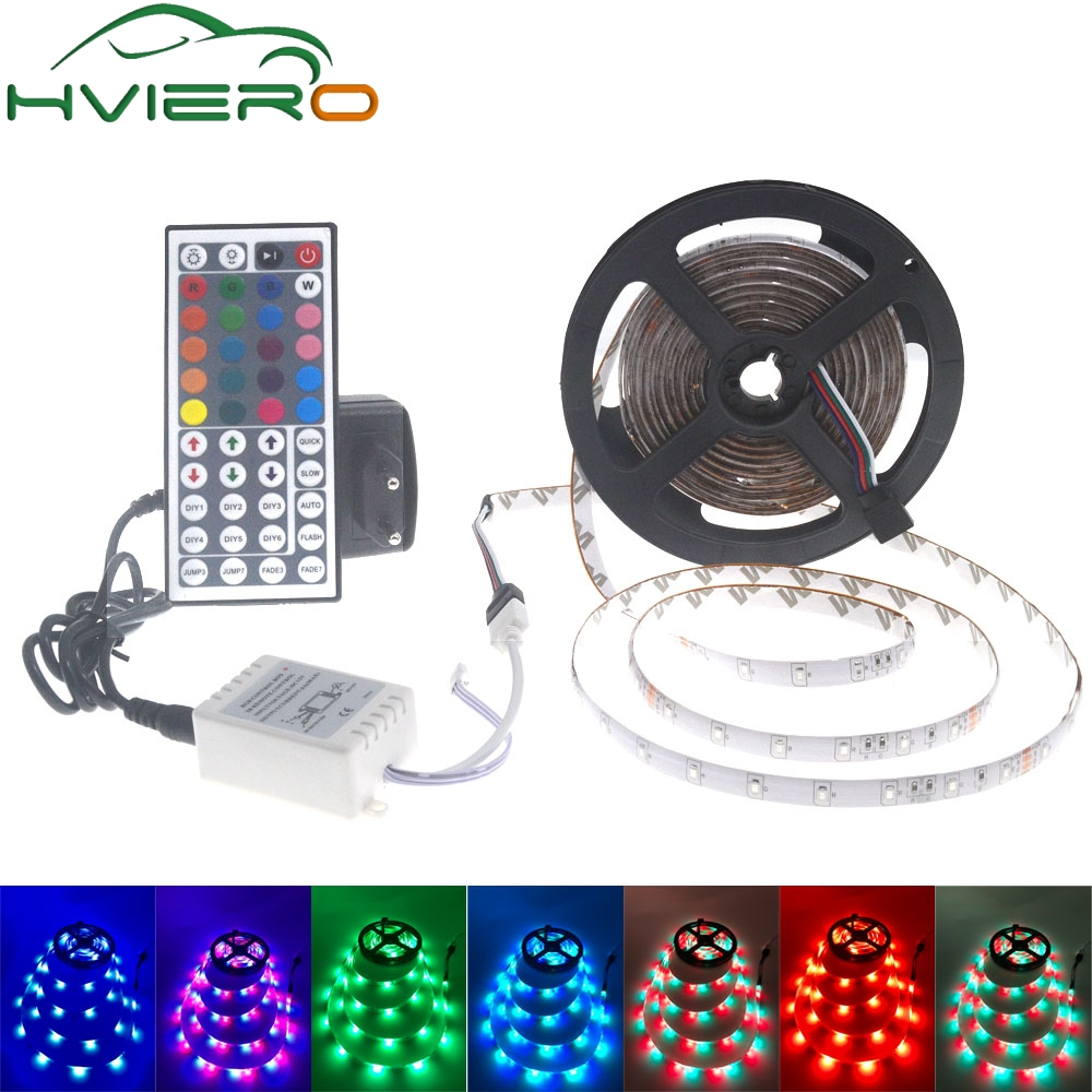 Ultra Luminoso 300 Led 5 m RGB 2835 Flessibile ha condotto la striscia impermeabile led del nastro del nastro con il regolatore DC 12 v adattatore full set per la decorazione