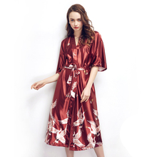 Hot Sale Blue Female Silk Rayon Robes Gown Kimono Yukata Chinese Women Sexy Lingerie Sleepwear Plus