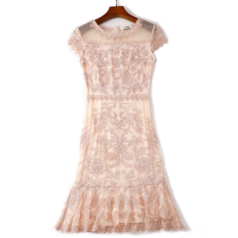 2019 summer new women elegant Dress short Petal sleeve O neck bag hip sheath Embroidery lace