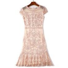 2019 קיץ חדש נשים שמלה אלגנטית קצר כותרת שרוול O צוואר שקית ירך נדן רקמת תחרה שמלת vestidos דה verano