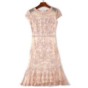 Image 1 - 2019 summer new women elegant Dress short Petal sleeve O neck bag hip sheath Embroidery lace Dress vestidos de verano