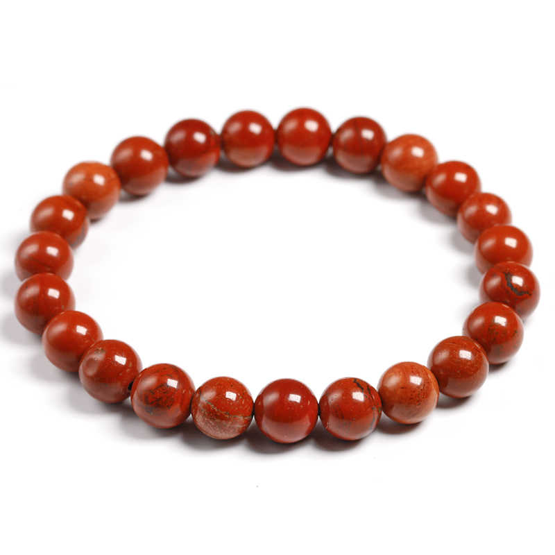 Natural Genuine Red Jasper Round Semi-precious Stones Beads 6 8 10 MM Bracelets Women Men Healing Jewelry Accessories Gift