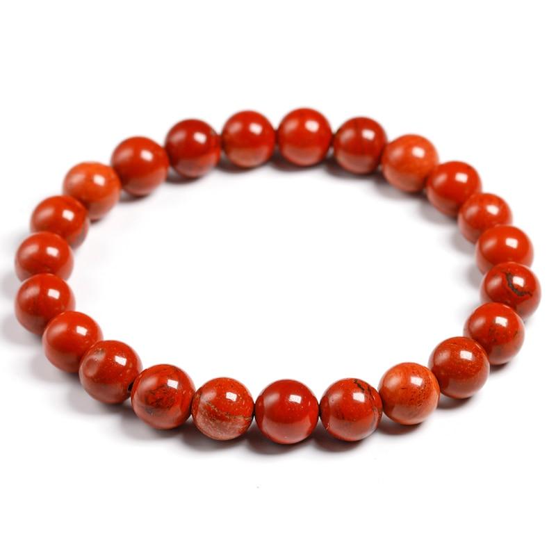 Natural Genuine Red Jasper Round Semi-precious Stones Beads 6 8 10 MM Bracelets Women Men Healing Jewelry Accessories Gift