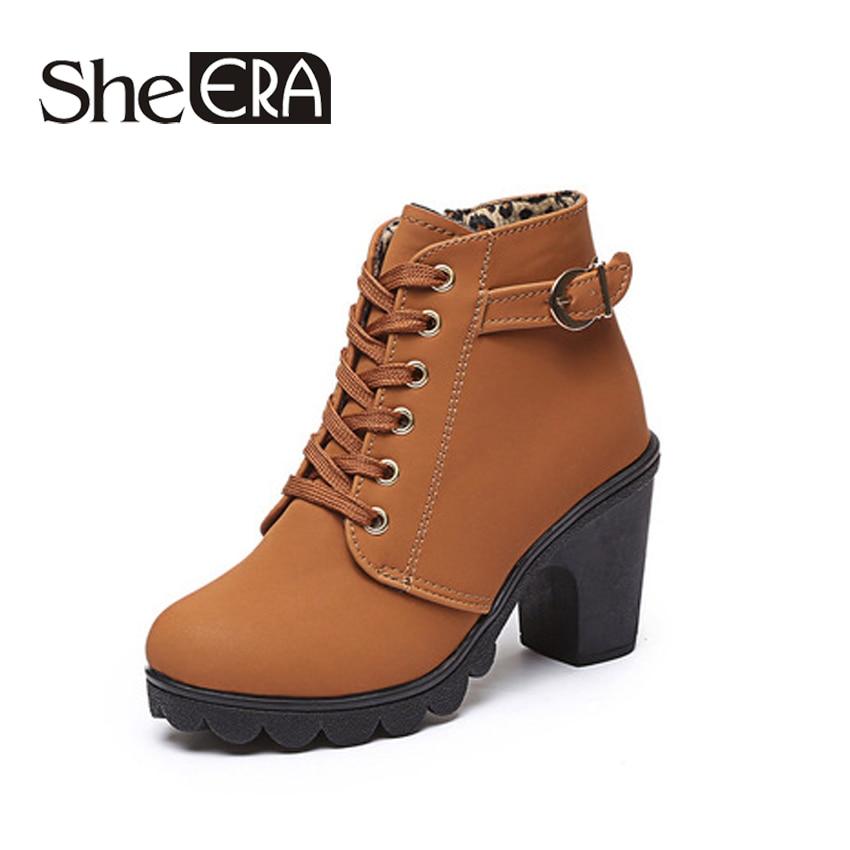 Women High Heel Boots for Autumn Winter Ankle Boots Winter Women Martin Snow Botas Fashion Footwear Warm Heels Boot Shoes