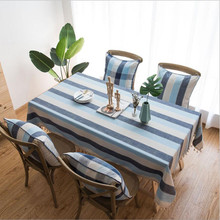 New Table Cloth Striped Waterproof Tablecloth Mediterranean Wind Blue Fabric Cotton Linen Rectangular Coffee
