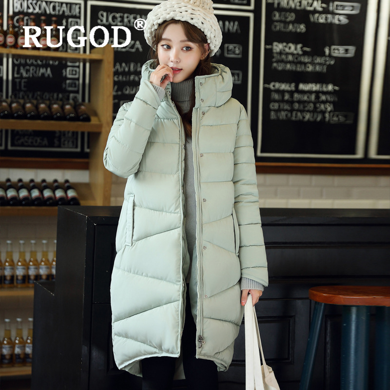 RUGOD Elegant long padded   Parka   coats slim Fashion 2019 button pocket long Down jackets women Thicken Winter Warm Outwear female