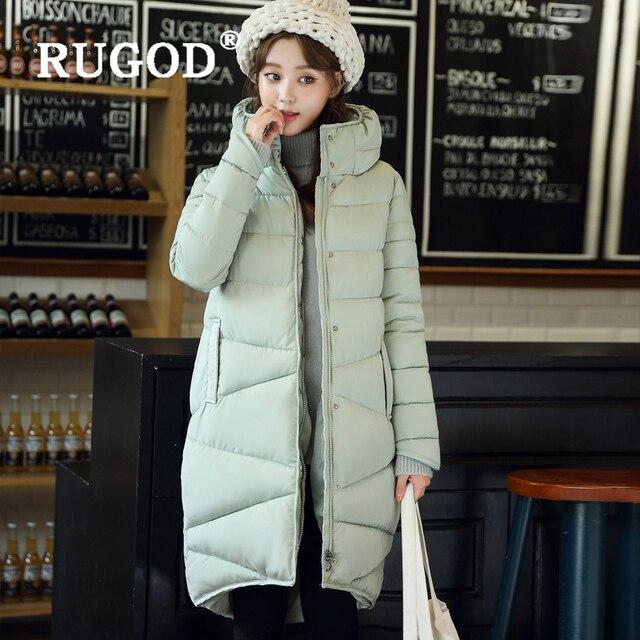 RUGOD zarif uzun yastıklı Parka palto İnce moda 2019 düğme cep uzun aşağı ceket kadın kalınlaşmak kış sıcak dış giyim kadın