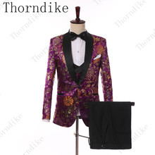 Guapo novio de Boda boda esmoquin (chaqueta + corbata + chaleco + Pantalones)  para hombres de traje Formal traje para los hombre. 4485e9bd17e
