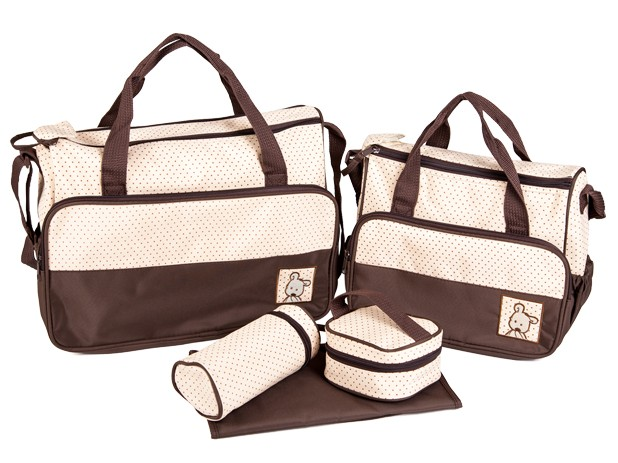 Baby World Ms. Woo Promition! Five-piece Baby Diaper Bags Changing Nappy Bags For Mummy With Big Capacity