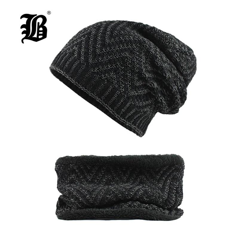 [FLB] Winter Hat Skullies Beanies Men Women Knitted Hat Scarf Winter Caps Mask Balaclava Bonnet Cap Wool Fur Beanies Hats F18035
