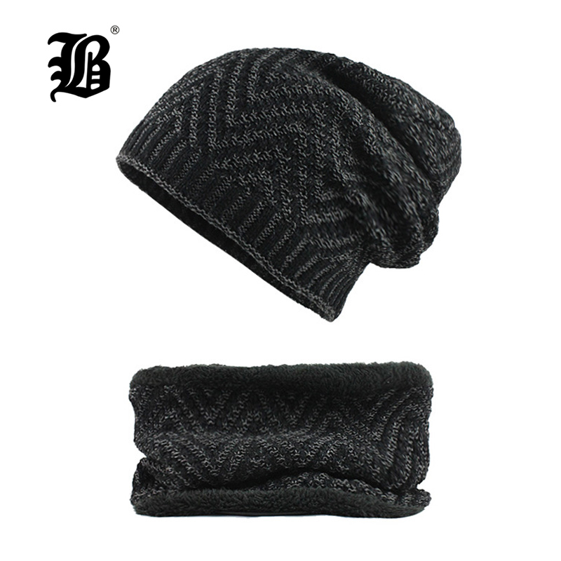 [FLB] Winter Hat   Skullies     Beanies   Men Women Knitted Hat Scarf Winter Caps Mask Balaclava Bonnet Cap Wool Fur   Beanies   Hats F18035