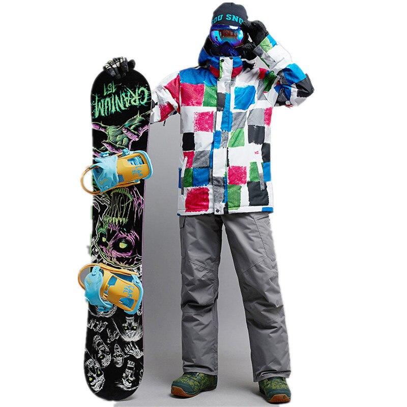 New outdoor Ski Suit men snowboard sets men waterproof breathable thermal cotton super warm Ski wear jacket Skating Clothes