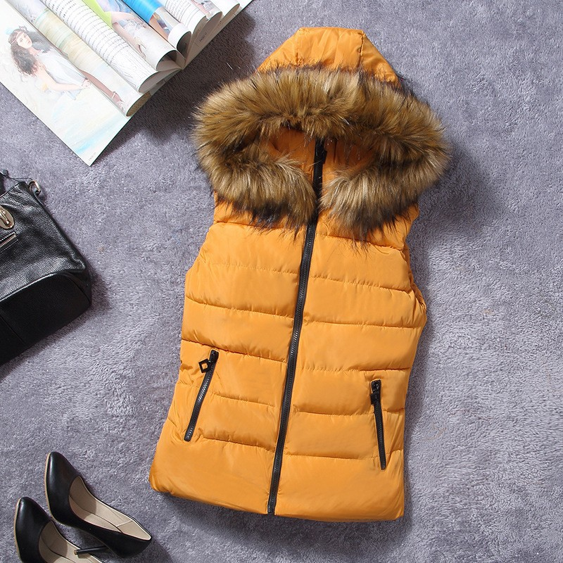 down vest with fur 0W0125 orange