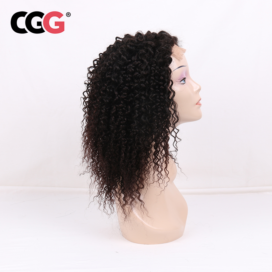 CGG 4 4 Lace Closure Kinky Curly Human Hair Wigs With Baby Hair Brazilian Non Remy