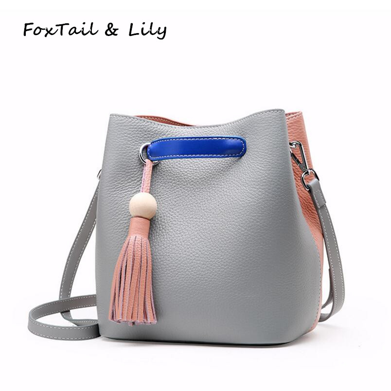 FoxTail & Lily Brand Fashion Tassel Women Genuine Leather Bucket Bags Classic Patchwork Ladies Shoulder Messenger Crossbody Bags classic women messenger bags genuine leather bucket crossbody shoulder handbags ladies top layer cowhide casual real skin 0102