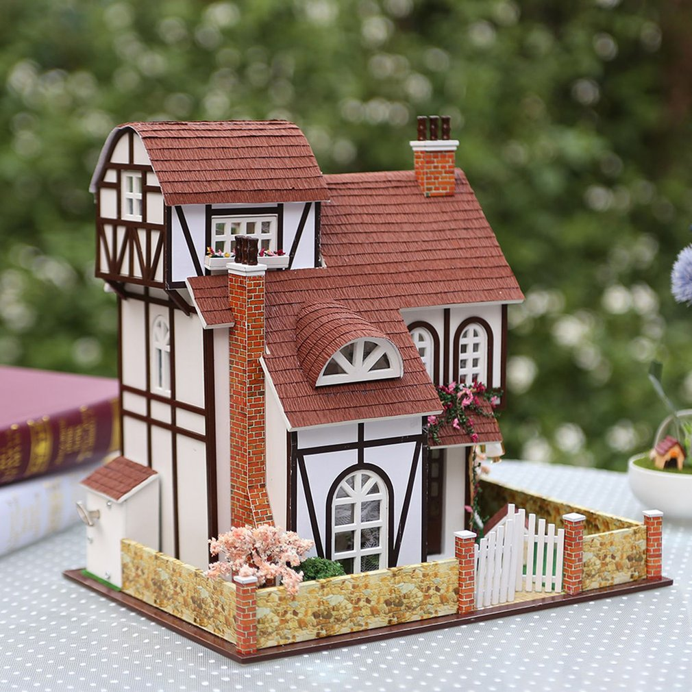 Flower Town Dollhouse DIY 3D Miniature Doll House Model Building Kits Wooden Furniture Toys Kids Baby Birthday Gifts Dollhouse mini dollhouse mini furniture model living room doll baby baby doll