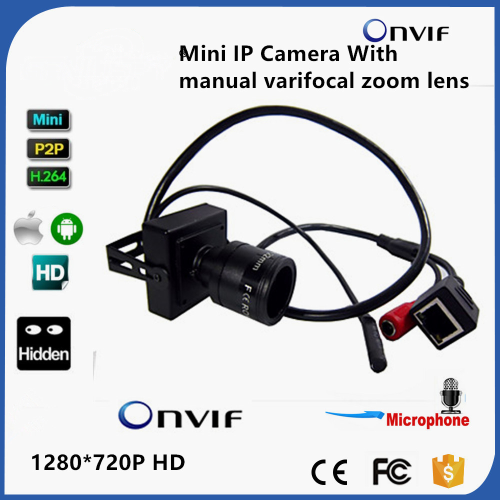 Hot Sale Audio Mini IP Camera 720P ONVIF 2.0 2.8-12mm Manual Varifocal Zoom Lens P2P Plug And Play With Bracket Security Camera