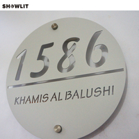 Brushed Metal Round Address Number Plaque