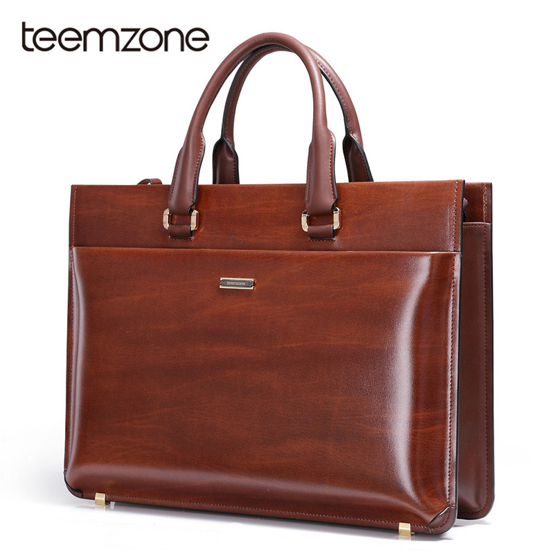 Teemzone Brand Business Men Briefcase Bag Genuine Leather Brown Luxury Designer Laptop Bag Office Large Capacity Briefcase T0650