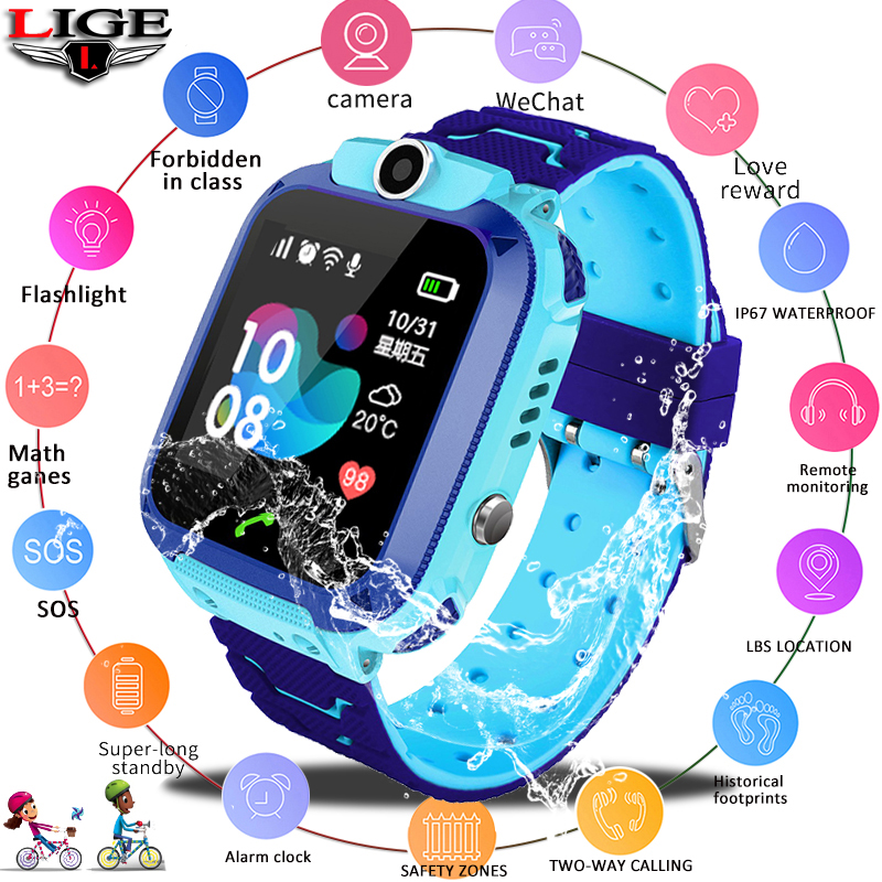 LIGE New Waterproof Children's Smart Watch Baby Watch SOS call For help Position LBS locator Tracker kid anti-lost Monitor