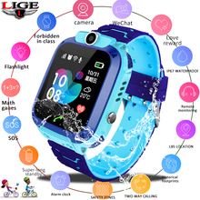 LIGE New Waterproof Childrens Smart Watch Baby SOS call For help Position LBS locator Tracker kid anti-lost Monitor