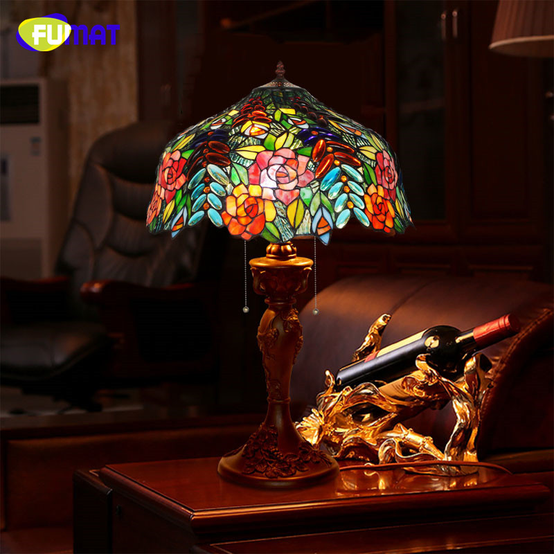 Living Room With Wooden End Table And Tiffany Lamp: FUMAT Stained Glass Table Lamp Creative Glass Rose Shade