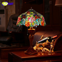 FUMAT Stained Glass Table Lamp Creative Glass Rose Shade Table Lamp Living Room Bedside Stand Lamp Bar Studio Table Lights